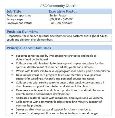 Sample Church Employee Job Descriptions  Job Description Churches
