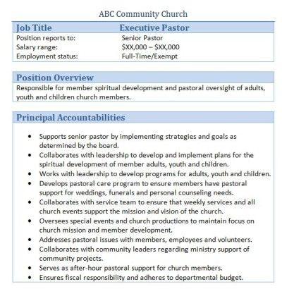 Sample Church Employee Job Descriptions Job description - executive agreement template