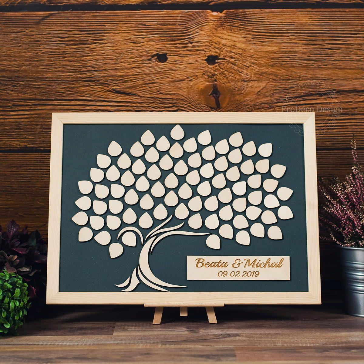 Ksiega Gosci Weselnych Obraz Drzewo 40x50 Cm Max 150 Szt Frame Home Decor Decor