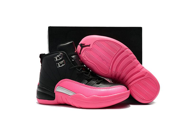 free shipping 1e093 560cf 2018 New Kids Air Jordan 12 XII Black Pink White For Sale ...