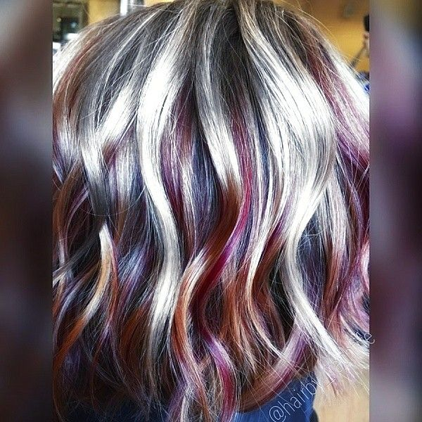 Silver Red And Black Streaks I Love This Style Hair Color