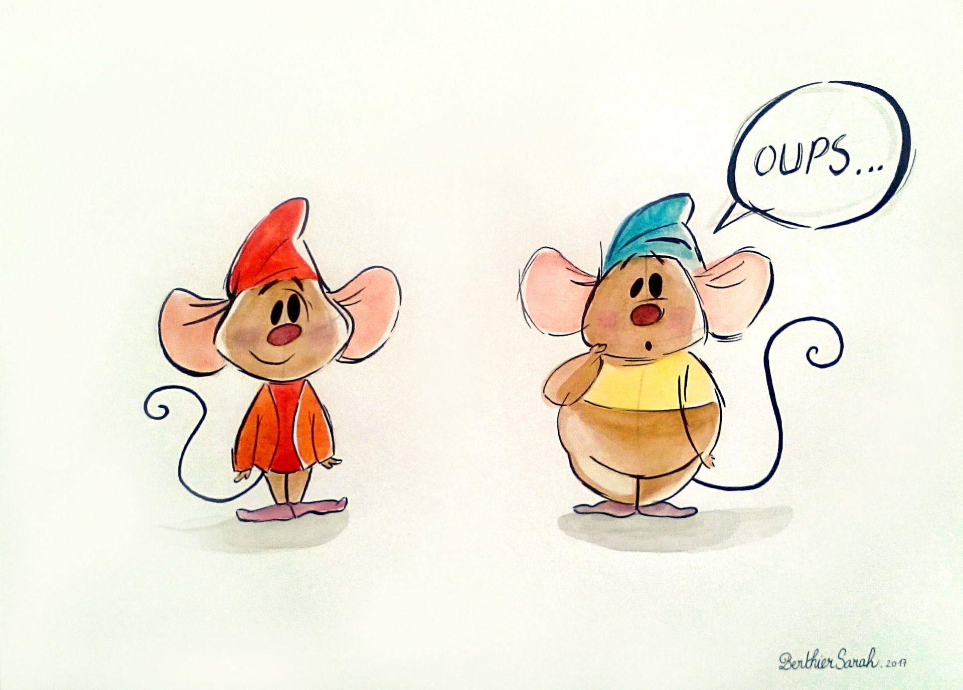 Dessin peinture cendrillon Disney souris Gusgus et Jack jack aquarelle effet croquis Peintures par