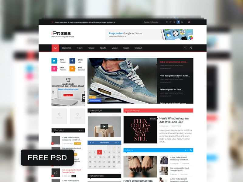 iPress Free PSD Magazine \ Blog Template Template, Psd templates - resume site template