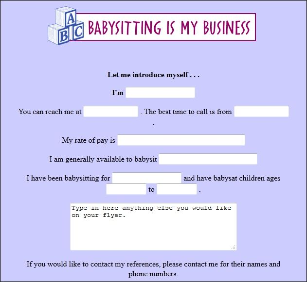 free babysitting flyer creator Babysitting Pinterest