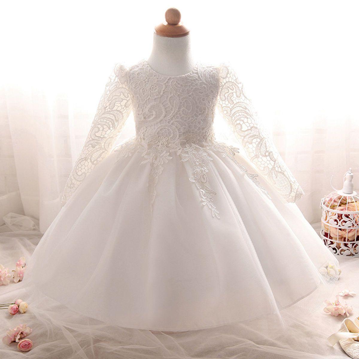 02f4d1467266 Flower Toddler Baby Girl Lace Dress Long Sleeve Princess Wedding ...