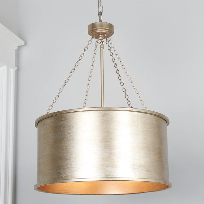 Luxe Patina Metal Drum Shade Pendant Small Metal Drum Shade
