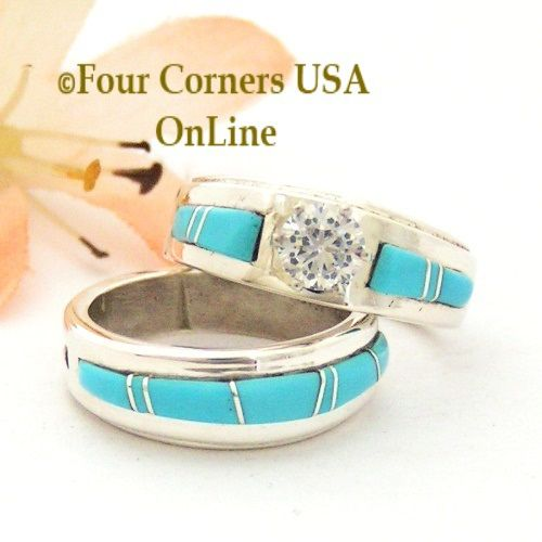 Four Corners USA Online - Size 5 Turquoise Engagement Bridal Wedding Ring Set Native American Wilbert Muskett Jr WS-1665, $240.00 (http://stores.fourcornersusaonline.com/size-5-turquoise-engagement-bridal-wedding-ring-set-native-american-wilbert-muskett-jr-ws-1665/)