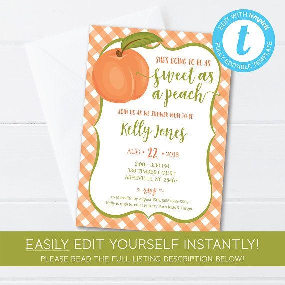 Editable Sweet as a Peach Baby Shower Invitation Template ...