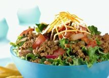 Low-Carb Taco Salad - To make it dairy free or Paleo, skip the cheese, skip the sour cream and make the dressing with coconut cream and salsa :)