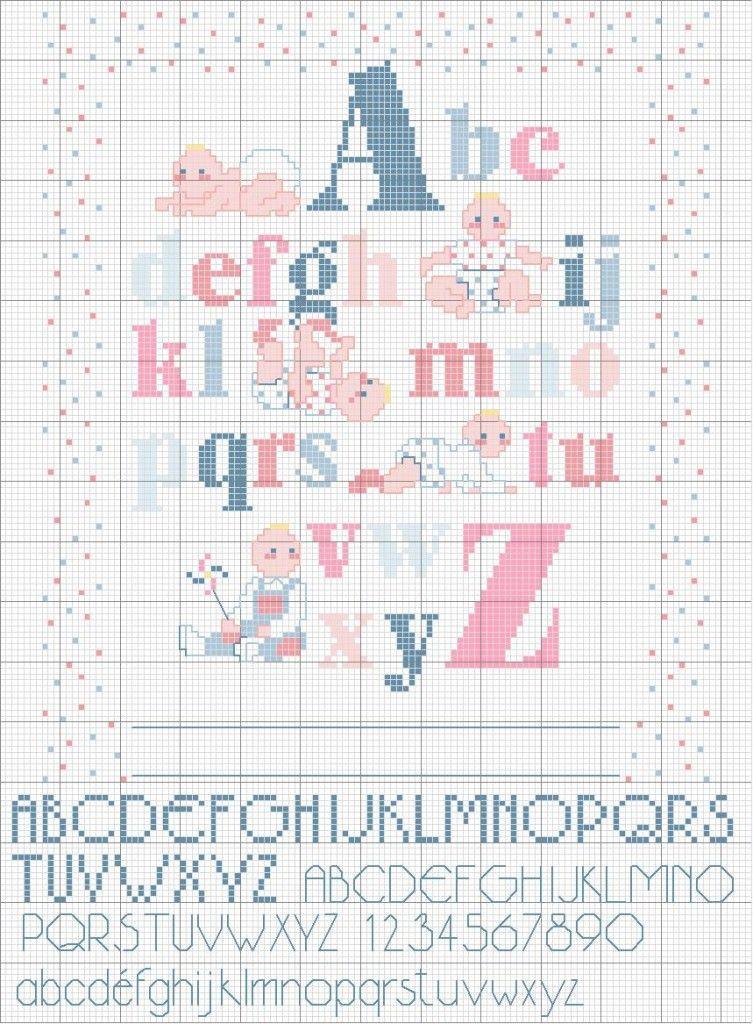 punto croce alfabeto bambini cose bimbi pinterest On alfabeto punto croce bimbi