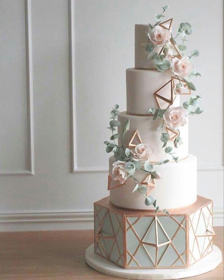 Pastel de bodas geométrico, Pastel de bodas azul polvoriento #weddingcake #weddingcakes