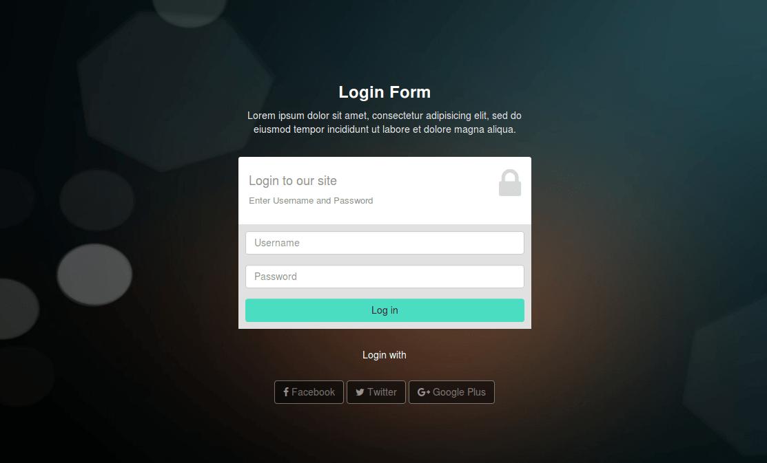 Responsive bootstrap code of login design page Login
