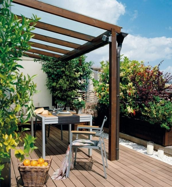 Ideas terrace design wood pergola plank floor deco white gravel
