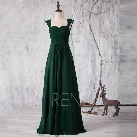 Forest Green Bridesmaid Dress, Long Sweetheart Wedding Dress, Double ...