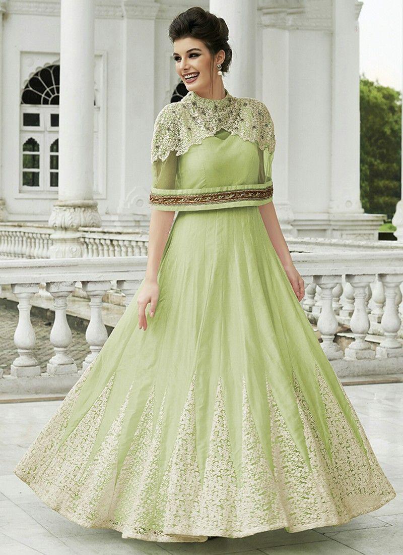 14bb639677 Refreshing Light Green Coloured Raw Silk Embroidered Work Indian Designer  Gown At Best Price By Uttamvastra - Online Shopping For Women