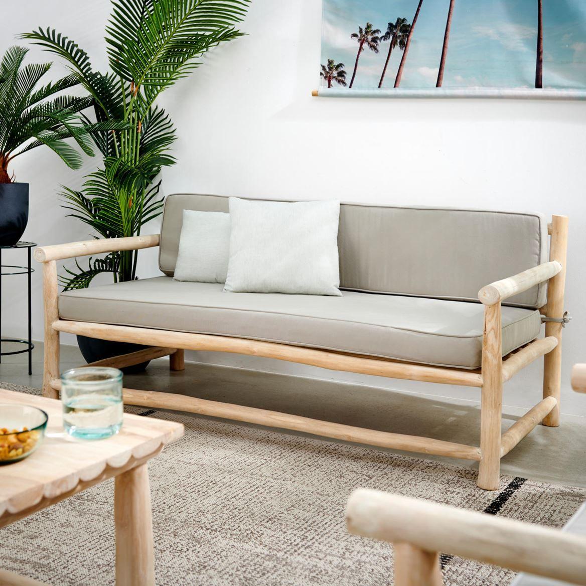 Teak Sofa Lounge Natural H 70 X W 150 X D 80 Cm Lounge Mobilier De Salon Meuble Jardin