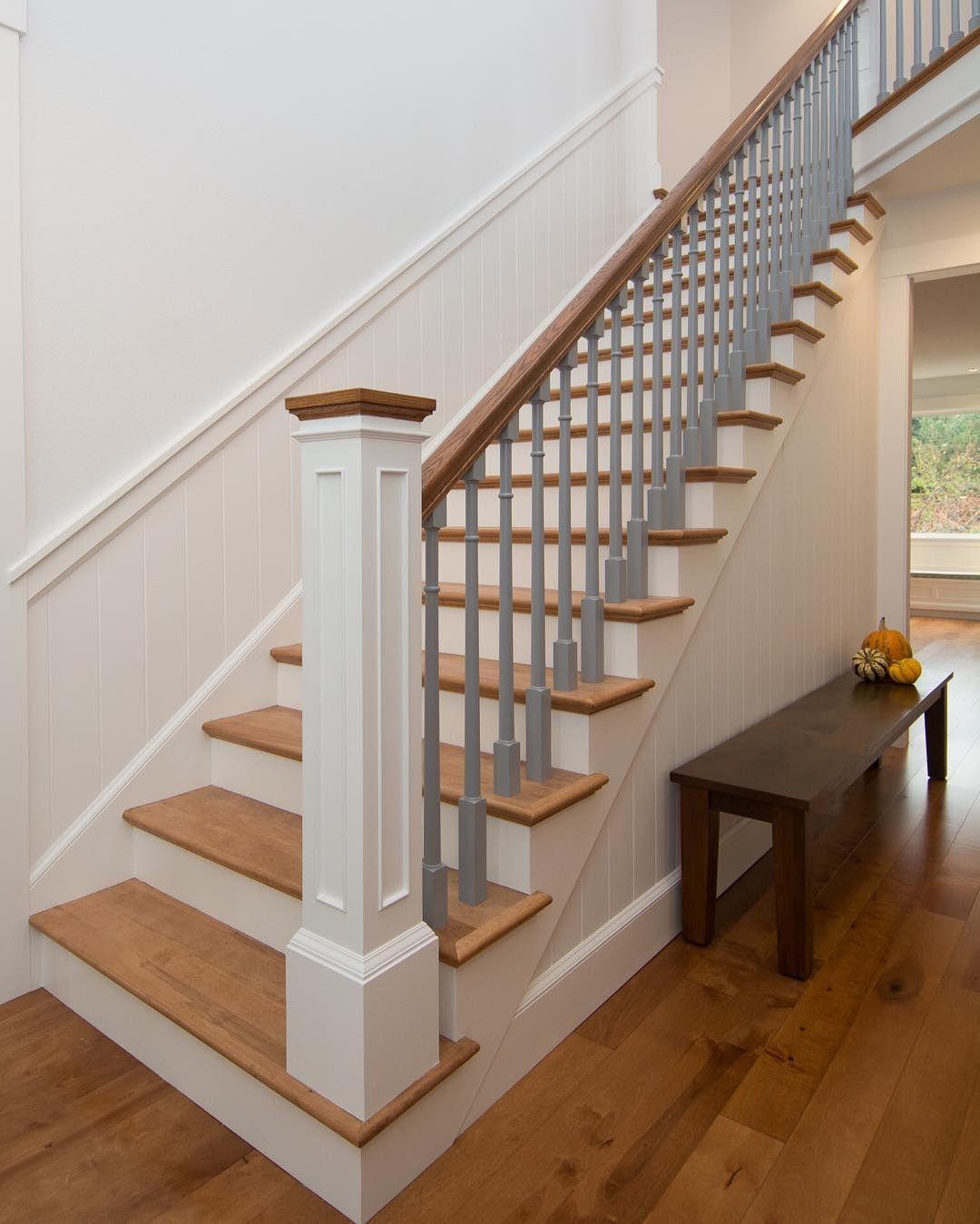 Truly One Of A Kind    Custom Built Paneled #newel With Oak Cap And # Handrail Plus #custom Made #birch #treads To Match #prefinished  #hardwoodfloors Along ...
