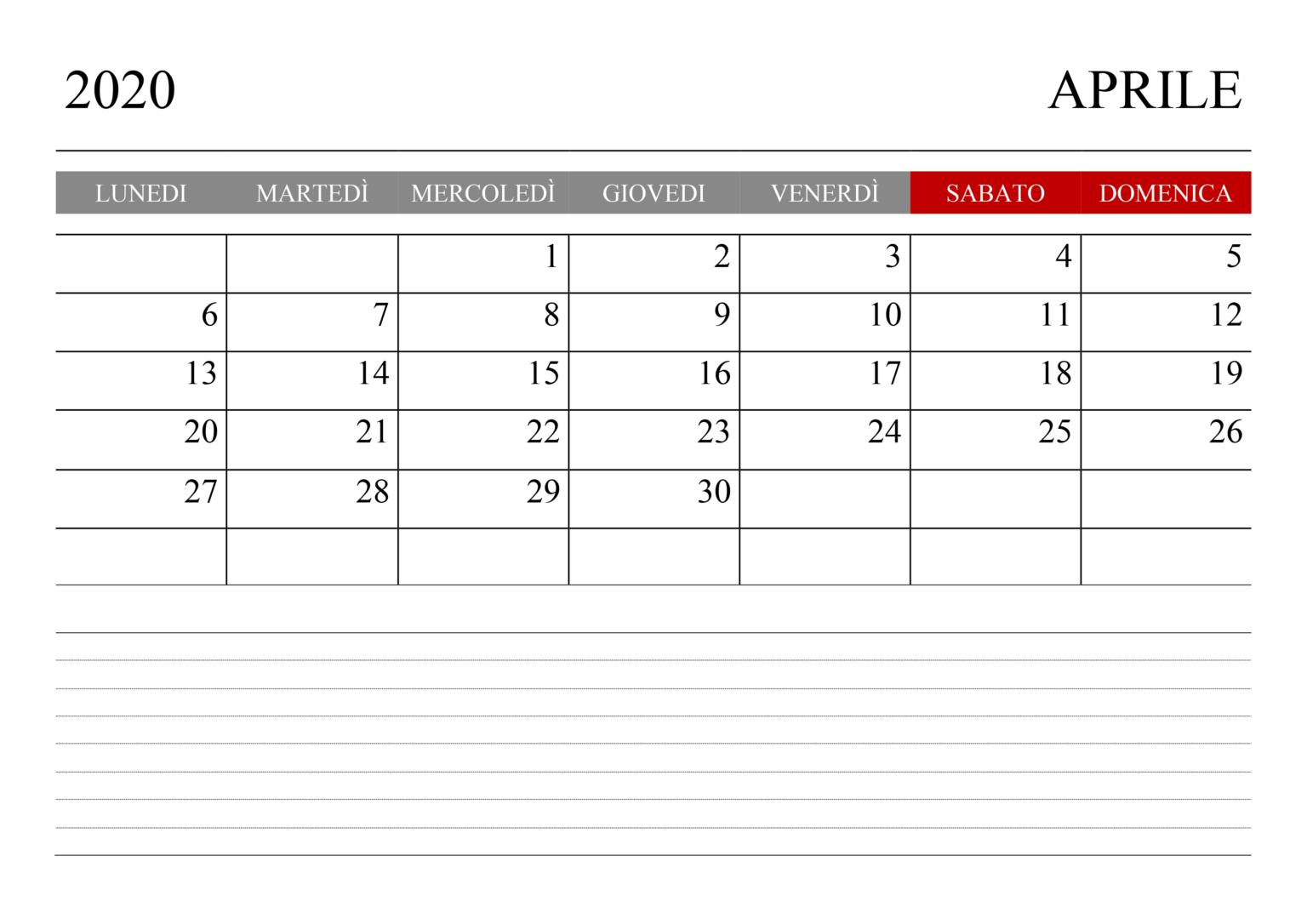 Vuoto Calendario Aprile 2020 PDF Immagine in