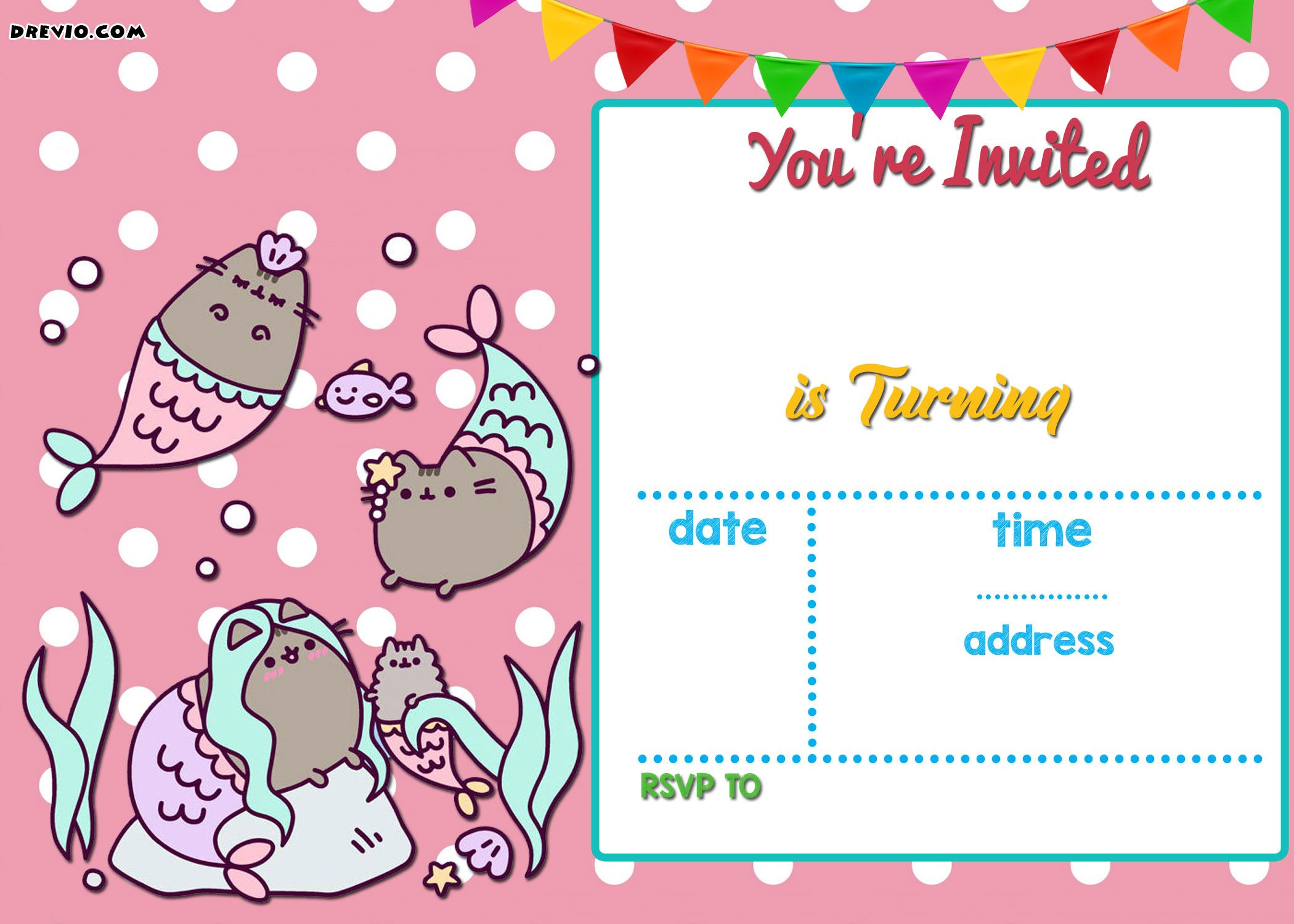 FREE Mermaid Pusheen Invitation Templates  Pirate party