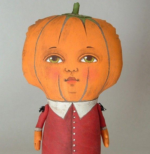 Peyton-- Contemporary Halloween Folk Art Pumpkin Doll