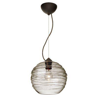 Besa Lighting Wave 1 Light Globe Pendant Finish Brushed