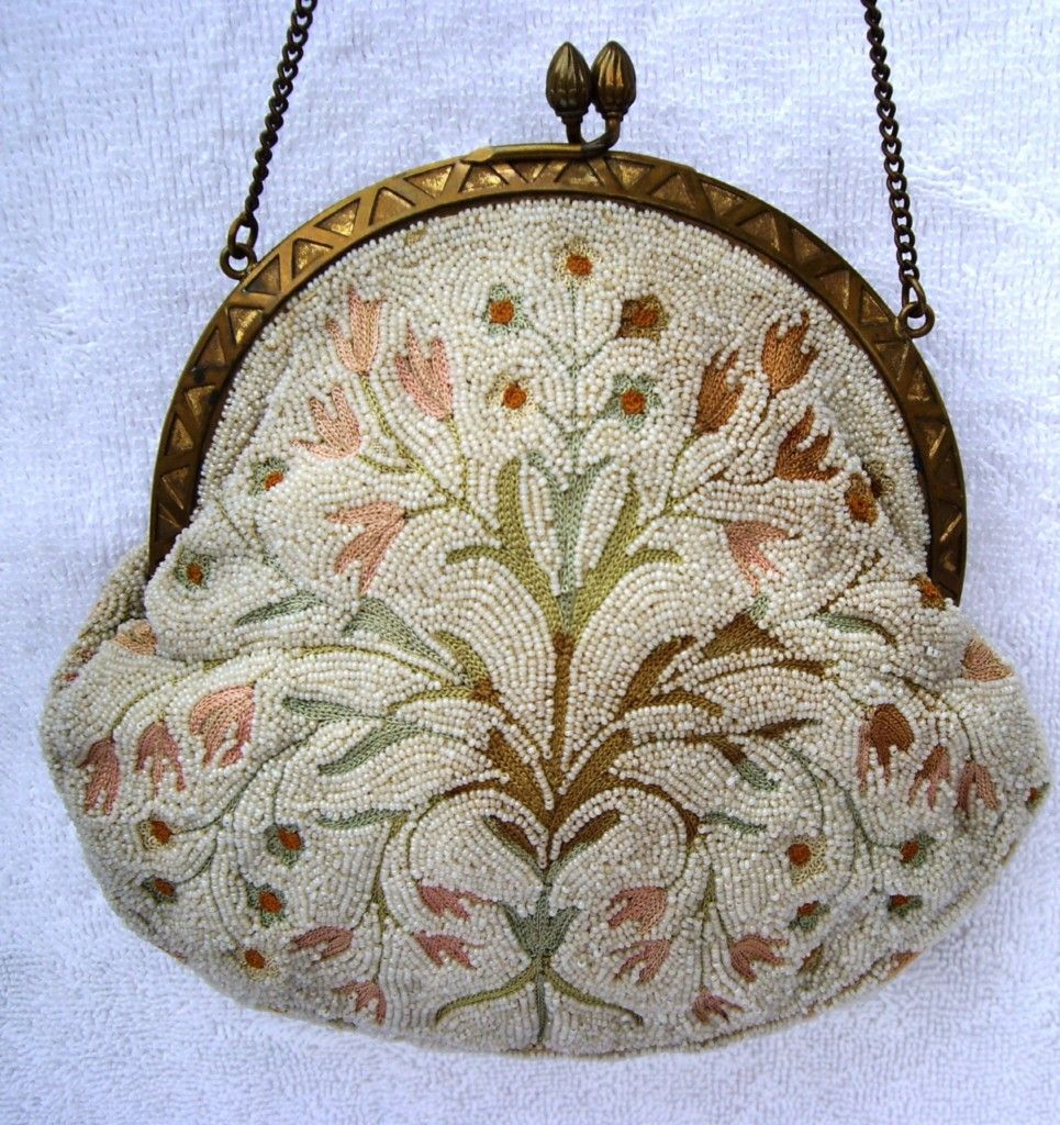 "Antique French Micro Seed Beaded & Crewel Purse Handbag  Handmade in France Measures 5.5"" x 6"""