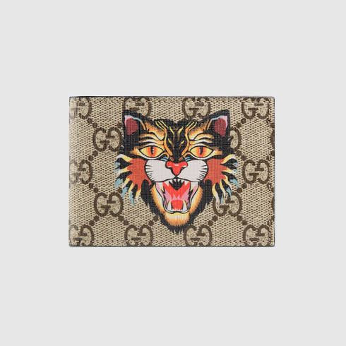 GUCCI Angry Cat Print Gg Supreme Wallet. #gucci #men's billfold