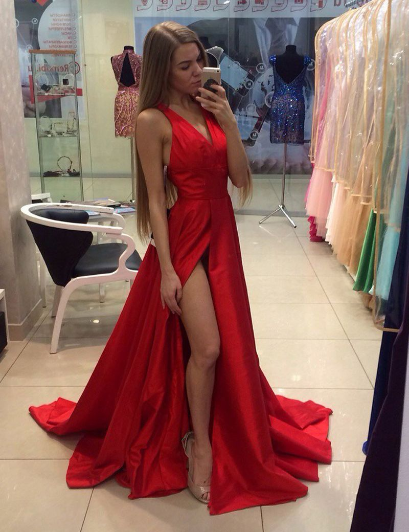 Sexy vneck sweep train red prom dress with splitfront ruched