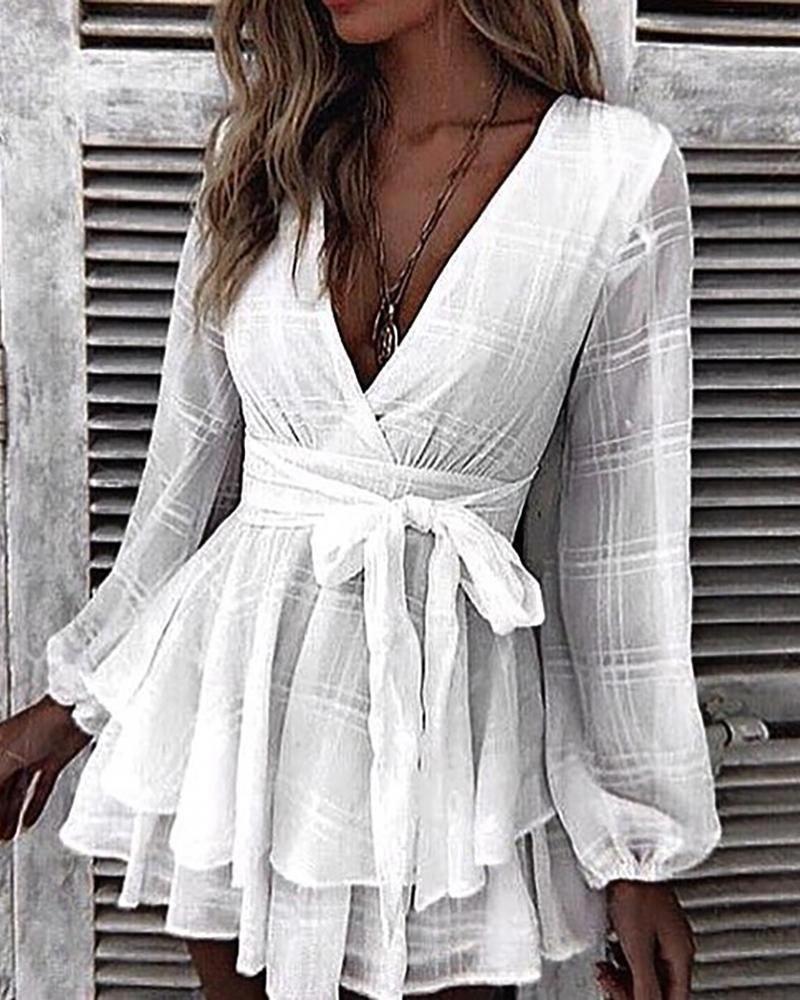 Grid Tight Waist Layered Ruffles Dress Layered Ruffle Dress Ruffle Dress Dresses [ 1000 x 800 Pixel ]