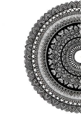 Half Circle Mandalas Poster Prints By Sowmya Raghunathan Displate Mandala Design Art Mandala Sketch Mandala Artwork