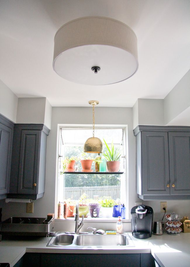 kitchen drum light shutters new to our an oil rubbed bronze and shade semi flush mount fixture from lowe s a hammered brass pendant shades of