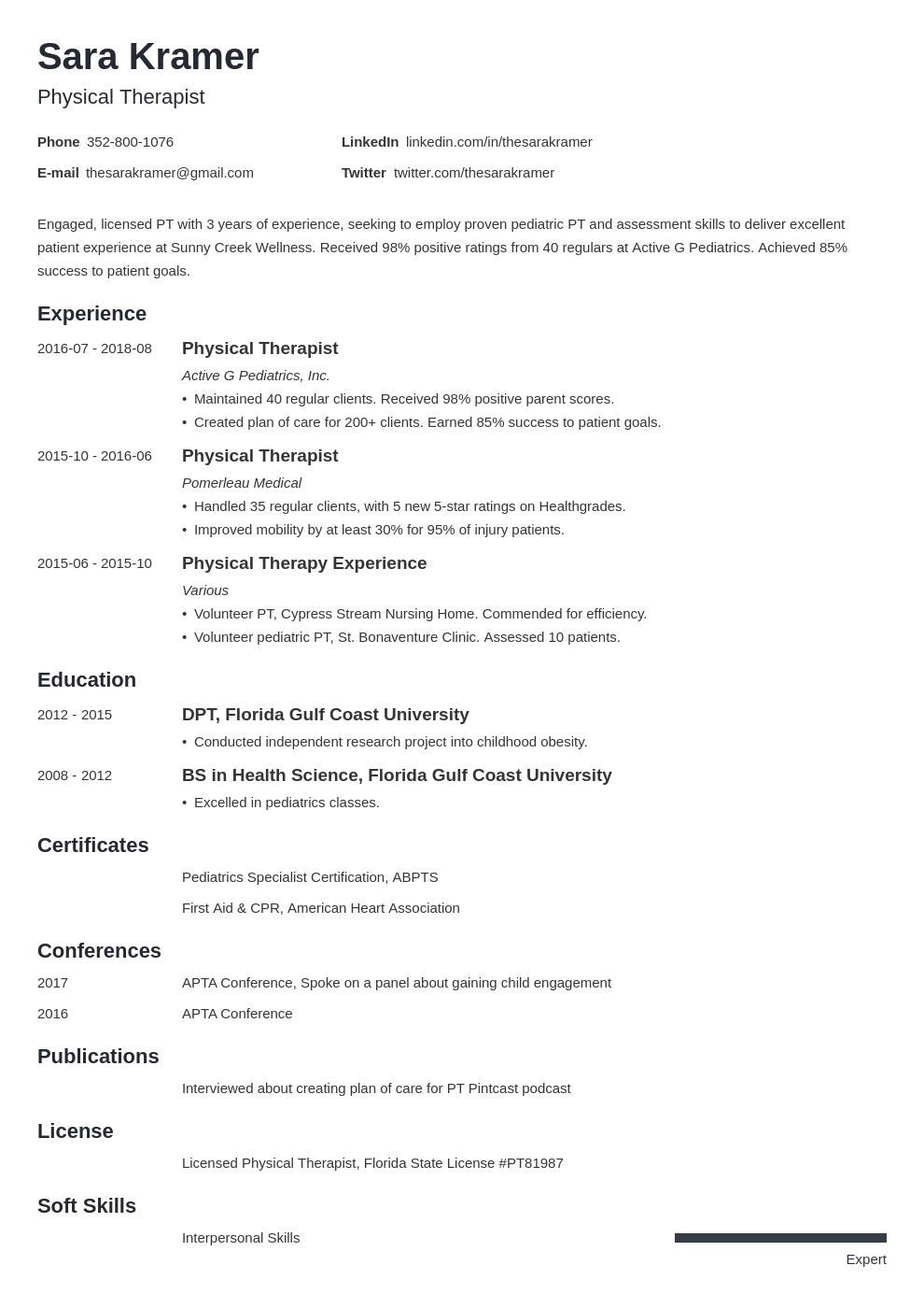 physical therapy resume example template minimo in 2020