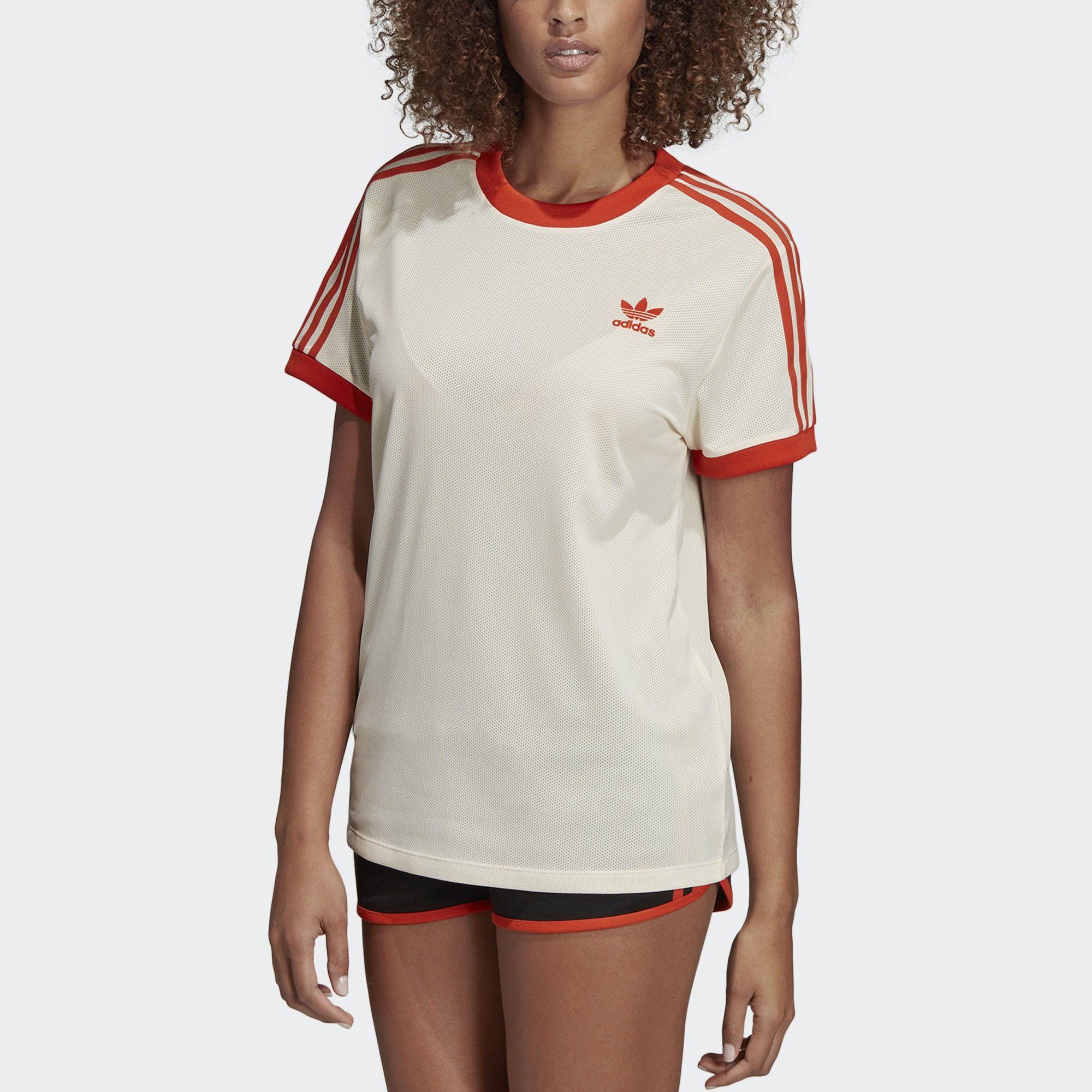 ADIDAS ORIGINALS T Shirt '3 Streifen' in beige orangerot