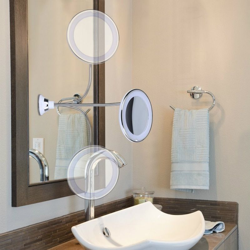 Usd 13 50 Buy New 10 Times Magnifying Glass Vanity Mirror Led Light 360 Degree Flexible Rotating Suction Cup Bathroom Bedroom Night Light Lights Lighting In 2021 Makeup Mirror