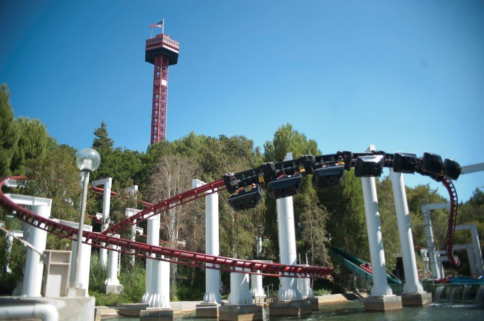 Ninja Suspended Coaster Six Flags Magic Mountain Los Angeles California Roller Coaster Magic Lamp Six Flags