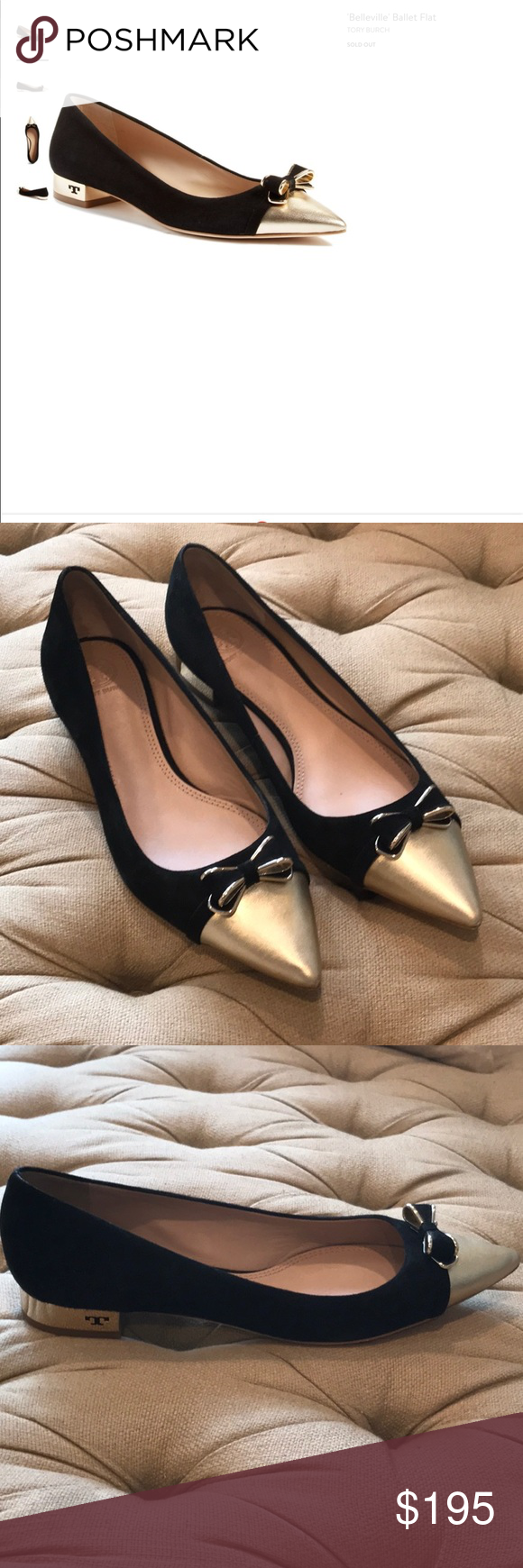 d54d9c89899 Tory Burch Belleville Ballet Flat Sold Out A metallic cap toe and pretty  bow accent lend eye-catching sophistication to a pointy-toe ballet flat  with a gilt ...