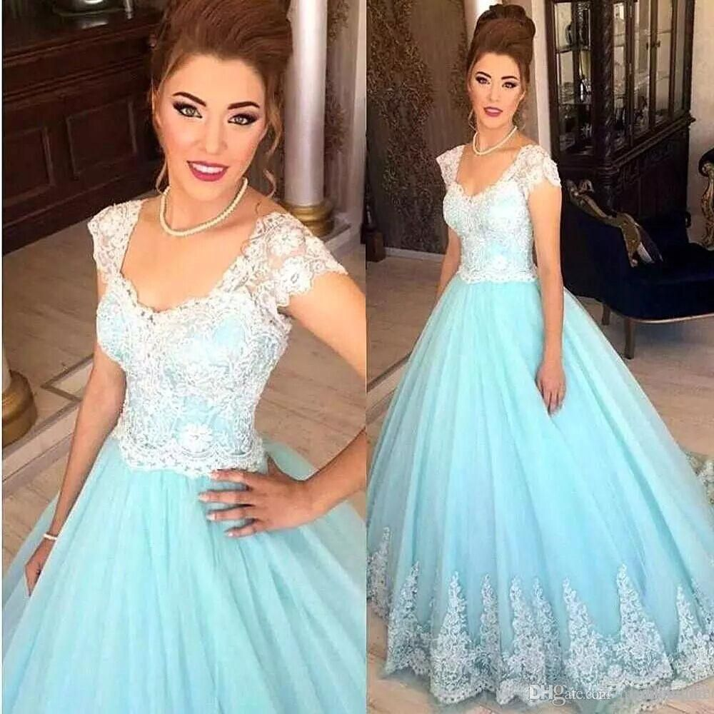 2018 Newest Light Sky Blue Ball Gown Prom Dresses with White ...