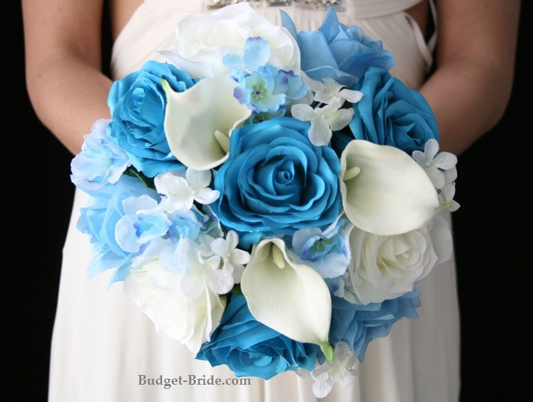Pool Blue Wedding Bouquets : Bridal bouquet blue and white wedding bouquets for