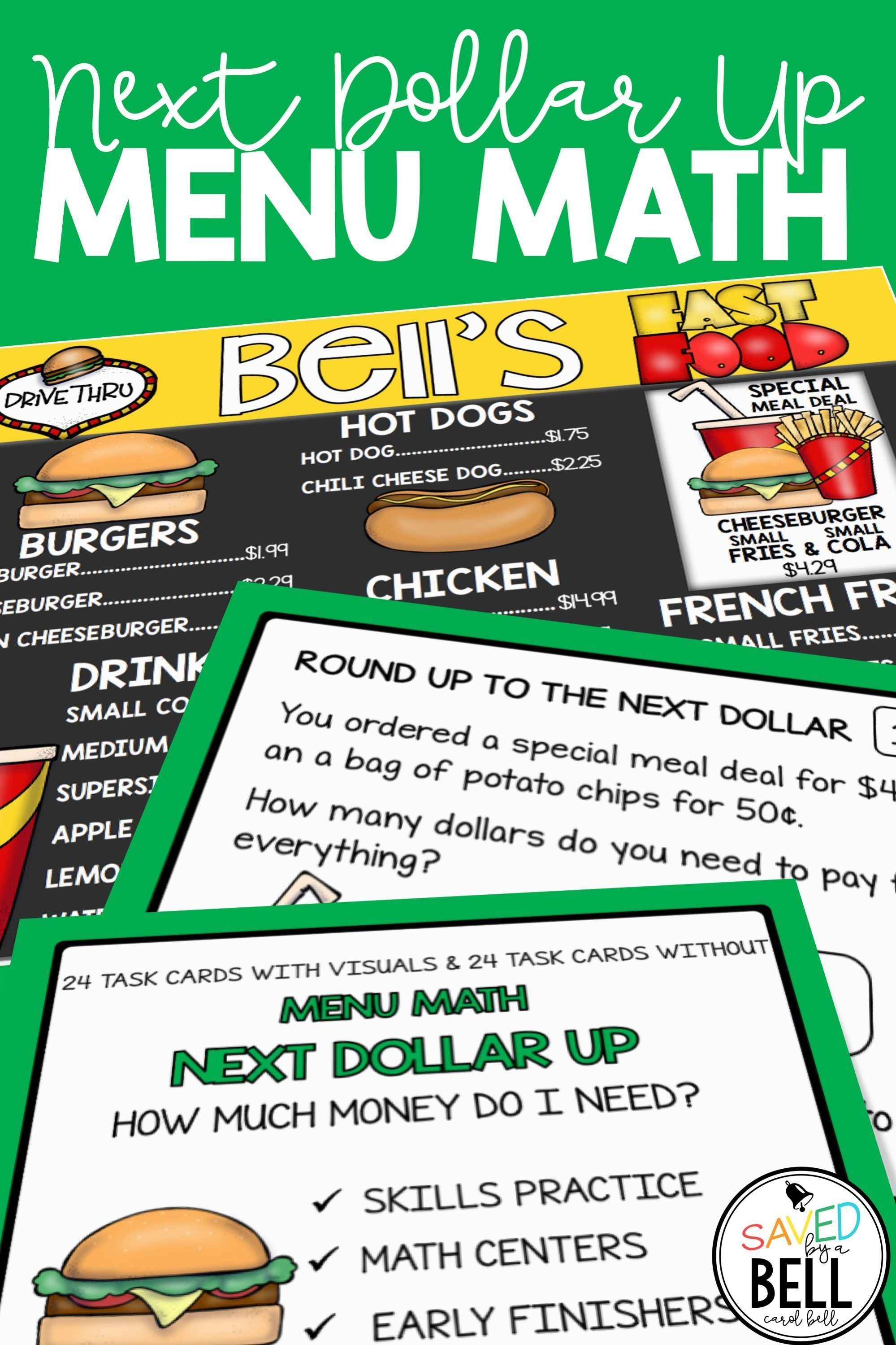 Next Dollar Up Worksheets And Word Problems Menu Math In