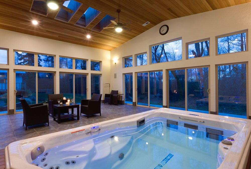 Aquatic Exercise At Home With The H2x Swim Spa Indoor Hot Tub Indoor Pool Design Hot Tub Room