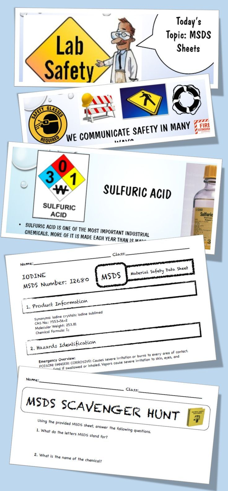 Msds Lab Safety Activity Powerpoint Worksheet Junior High 5th 6th