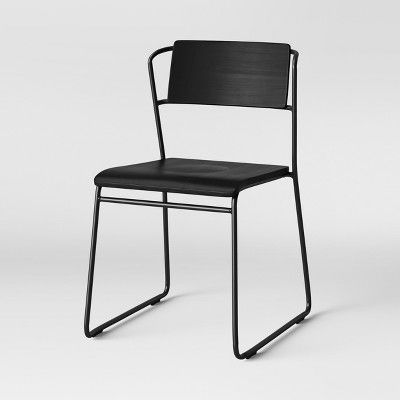 Astounding Set Of 2 Killiam Mixed Material Sled Dining Chair Black Pdpeps Interior Chair Design Pdpepsorg