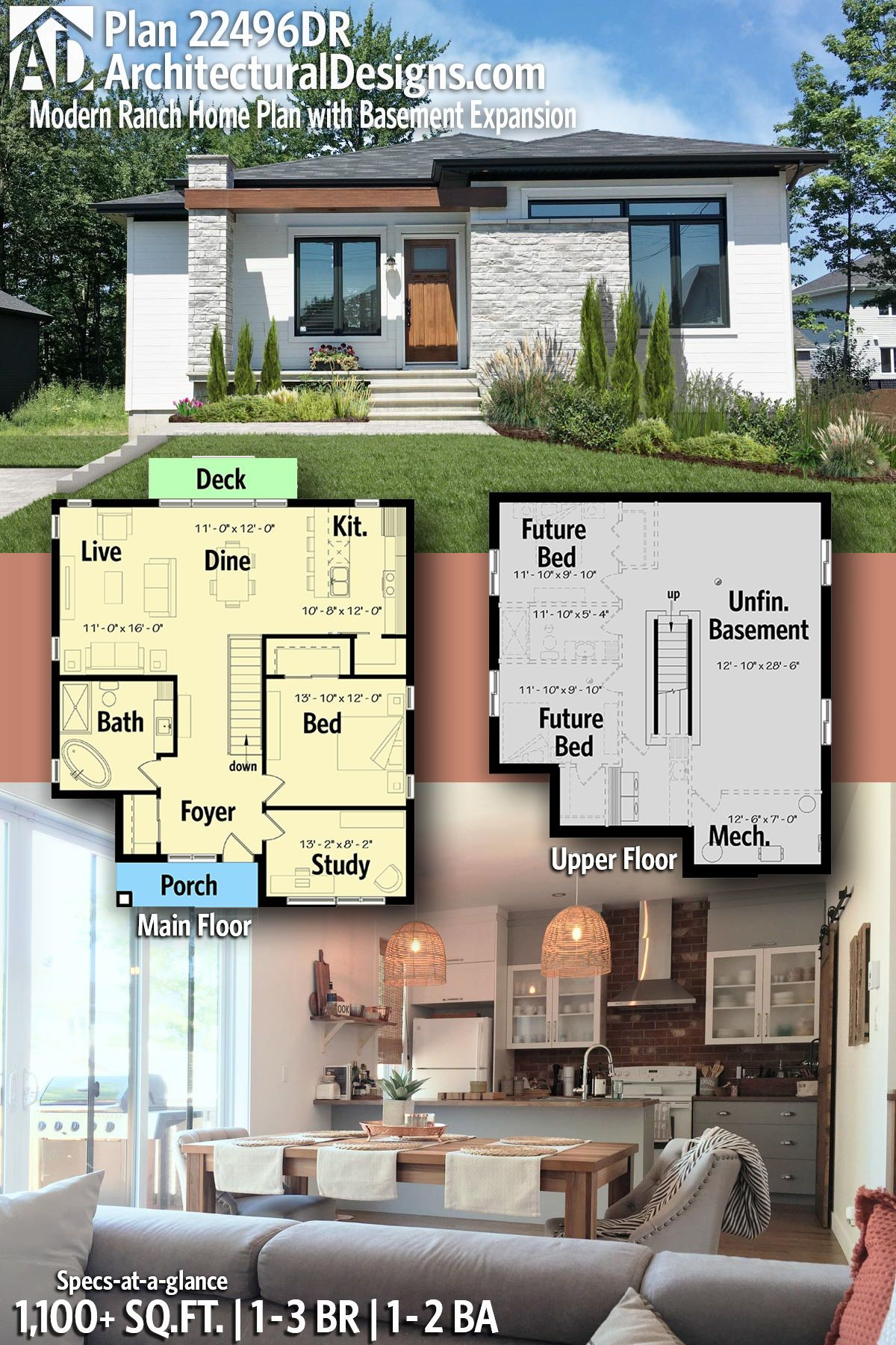 Plan 22496dr Modern Ranch Home Plan With Basement Expansion Ranch House Plans Modern House Plans Ranch Style House Plans