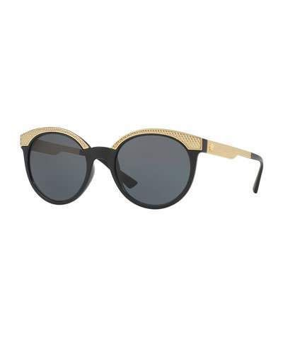 60297977c770 Versace Embossed Monochromatic Cat-Eye Sunglasses