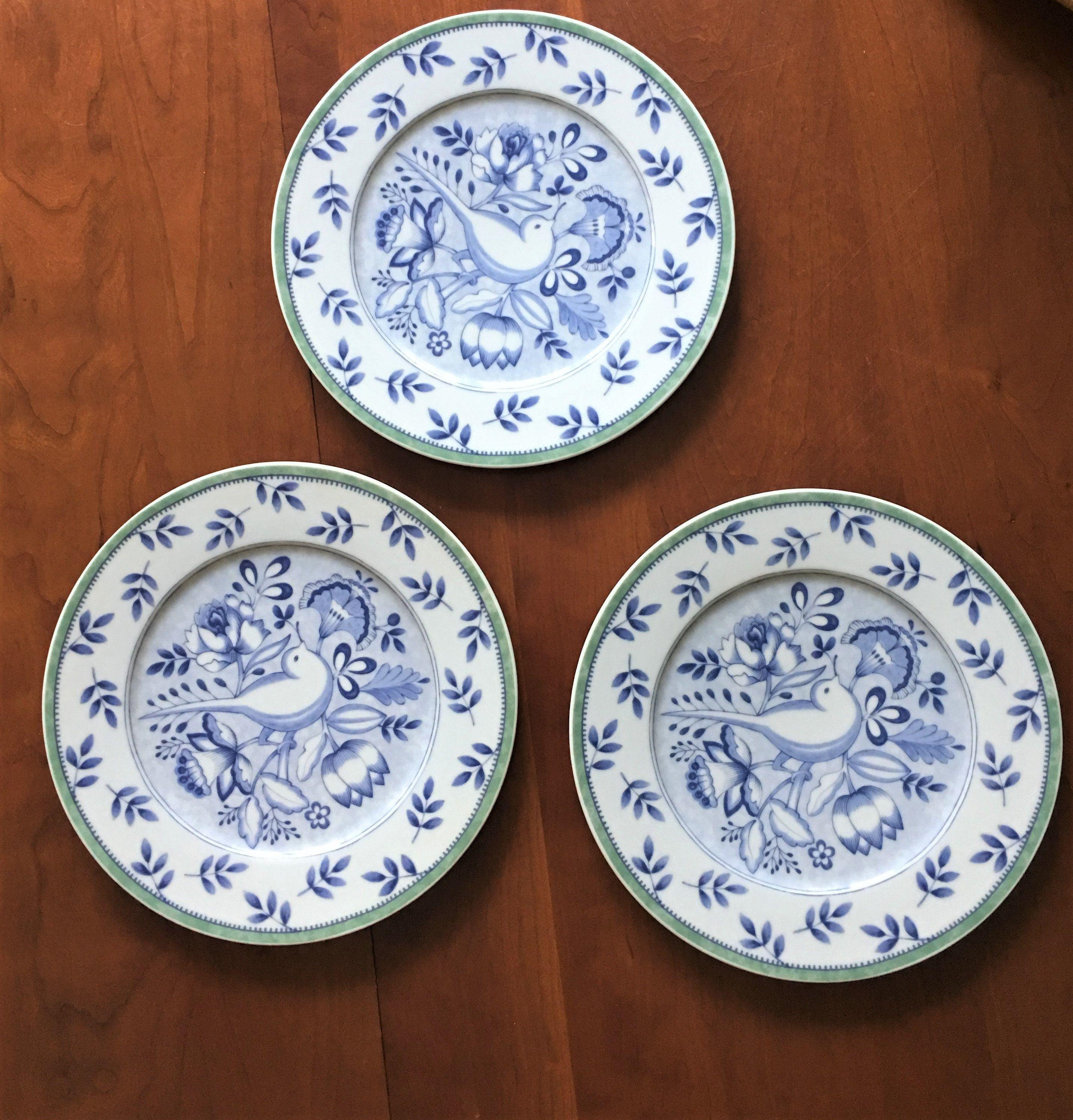 Blue Bird On White Plates Villeroy Boch Germany Porcelain Plates