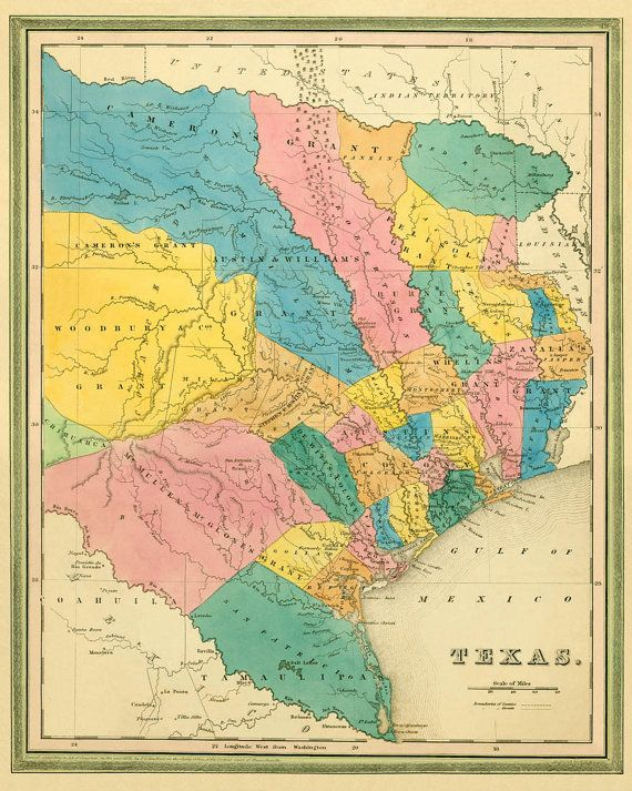 Texas Map Old Map Of Texas Archival Reproduction Giclee Fine