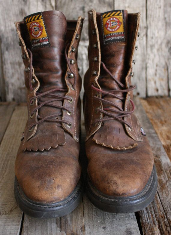 Brown · Vintage Justin Roper Laceup Boots ...