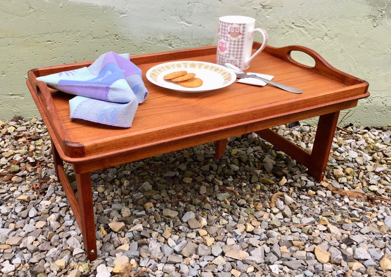 Antique 1970s Solid Teak Wooden Breakfast Tray With Legs Danish Mid Century Modern Serving Tray Repurposed Modern Serving Trays Danish Mid Century Modern Teak