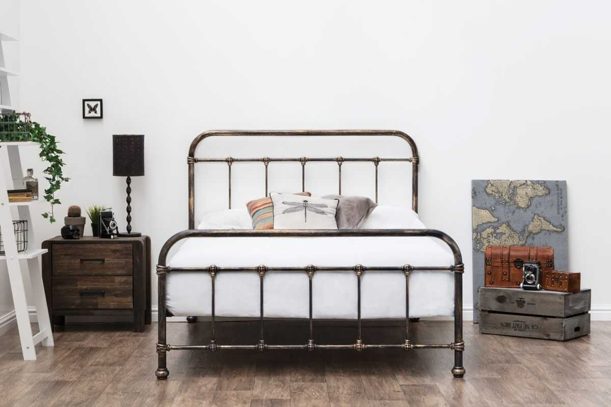 Burford Victorian Hospital Antiqued Black Metal Bed Frame Single Double King Size Black Metal Bed Metal Bed