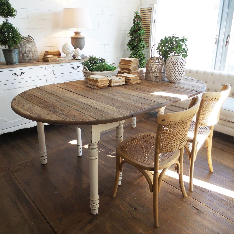 Tavolo ovale allungabile in legno stile shabby con piano in rovere ...